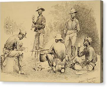A Campfire Sketch Canvas Print by Frederic Remington