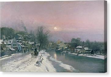 A Canal Scene In Winter  Canvas Print by Anders Anderson Lundby