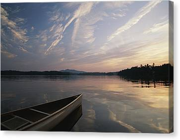 A Canoe On The Lower St. Regis Lake Canvas Print