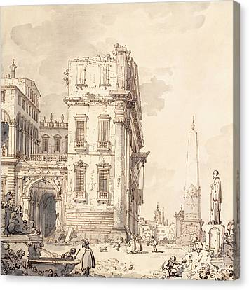 A Capriccio Of A Venetian Palace Overlooking A Piazza With An Obelisk Canvas Print