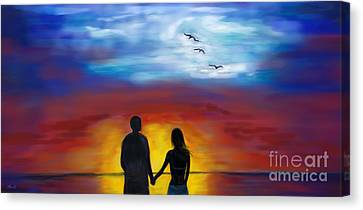 Canvas Print featuring the painting A Captivating Love by Leslie Allen