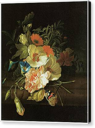 A Carnation Morning Glory With Other Flowers Canvas Print by Rachel Ruysch