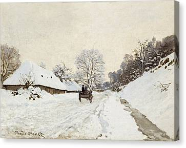 A Cart On The Snowy Road At Honfleur Canvas Print