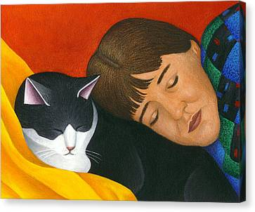 A Cat Is A Furry Pillow Canvas Print by Carol Wilson