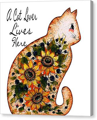 A Cat Lover Lives Here Canvas Print