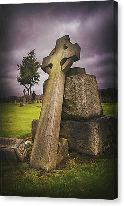 Cemetary Canvas Print - A Celtic Cross In Glasgow Scotland by Carol Japp