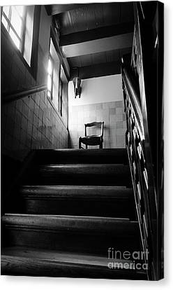 A Chair At The Top Of The Stairway Bw Canvas Print