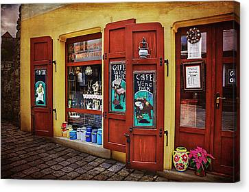 A Charming Little Store In Bratislava Canvas Print by Carol Japp