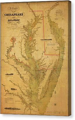 A Chart Chesapeake And Delaware Canvas Print by Randy Vreeke