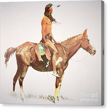 A Cheyenne Brave Canvas Print by Frederic Remington