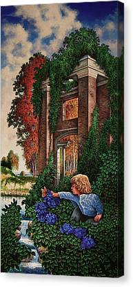 Canvas Print featuring the painting A Child's Wonder by Michael Frank