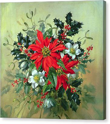 A Christmas Arrangement With Holly Mistletoe And Other Winter Flowers Canvas Print by Albert Williams