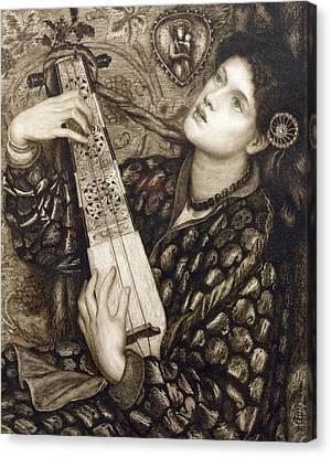 Woman Playing A Lute Canvas Print - A Christmas Carol by Dante Gabriel Charles Rossetti
