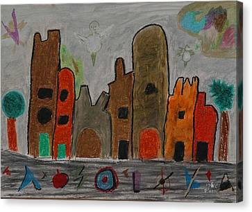 A Child's View Of Downtown Canvas Print by Harris Gulko