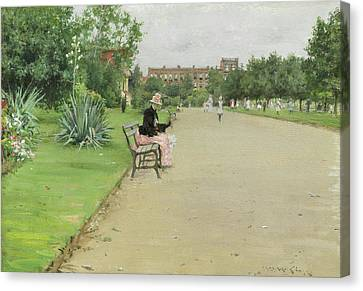 A City Park Canvas Print by William Merritt Chase
