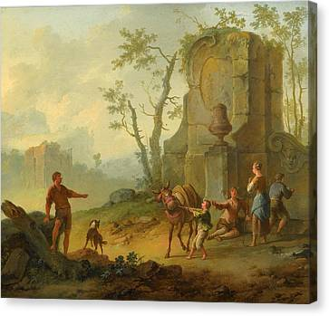 A Classical Landscape With A Family Resting By The Ruins Canvas Print