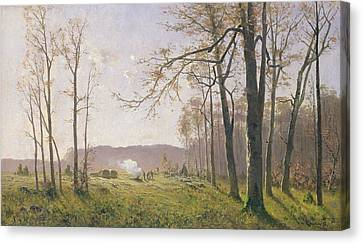 A Clearing In An Autumnal Wood Canvas Print