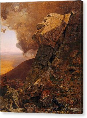 A Cliff In The Catskills Canvas Print by Jervis McEntee