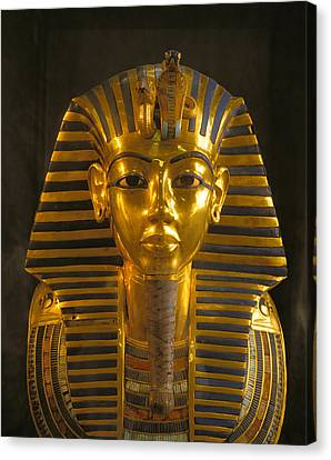 A Close View Of The Gold Funerary Mask Canvas Print by Kenneth Garrett
