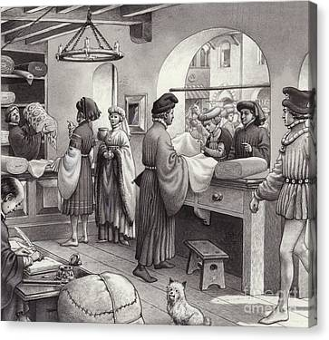 A Cloth Merchant's Shop In Renaissance Italy Canvas Print by Pat Nicolle
