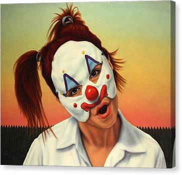 A Clown In My Backyard Canvas Print by James W Johnson