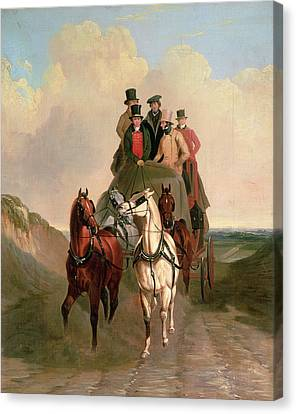 A Coach And Four On An Open Road  Canvas Print by William Snr Shayer