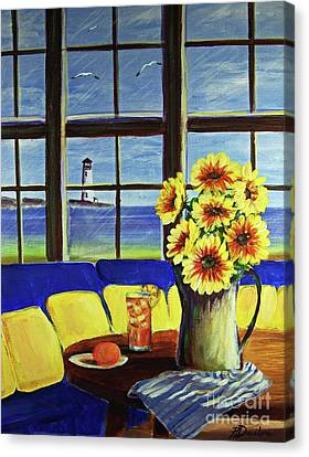Canvas Print featuring the painting A Coastal Window Lighthouse View by Patricia L Davidson
