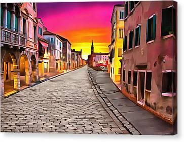 A Cobblestone Street In Venice Canvas Print