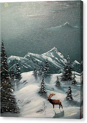 Canvas Print featuring the painting A Cold Montana Night by Al  Johannessen