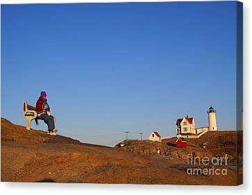Canvas Print featuring the photograph A Cold Winter Day At The Lighthouse by David Bishop