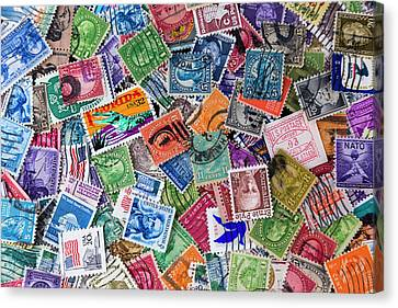 A Collection Of Used Us Postage Stamps Off Paper Canvas Print
