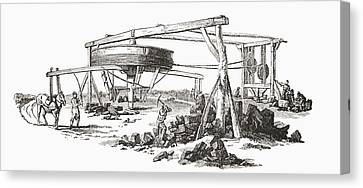 A Colliery In The Early 19th Century Canvas Print by Vintage Design Pics