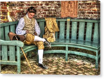 Colonial Man Canvas Print - A Colonial Gentleman At Rest by Robert Nelson