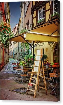 Medieval Canvas Print - A Colorful Corner Of Strasbourg France by Carol Japp