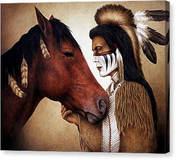 Western Canvas Print - A Conversation by Pat Erickson