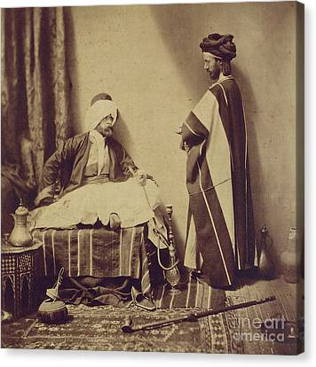A Conversation While Smoking, 1858 Canvas Print by Roger Fenton