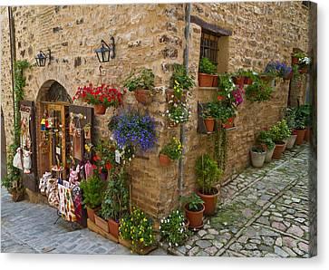 A Corner Store In Spello Italy Canvas Print