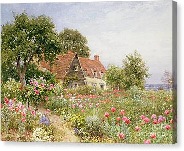 Garden Flowers Canvas Print - A Cottage Garden by Henry Sutton Palmer