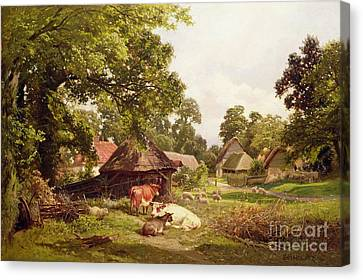 Country Cottage Canvas Print - A Cottage Home In Surrey by Edward Henry Holder