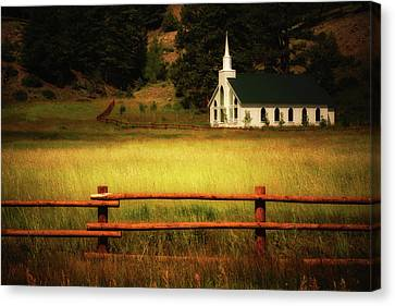 A Country Church In Colorado Canvas Print by John De Bord