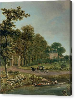Country Scene Canvas Print - A Country House by J Hackaert
