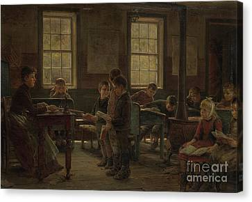 A Country School Canvas Print by Edward Lamson Henry