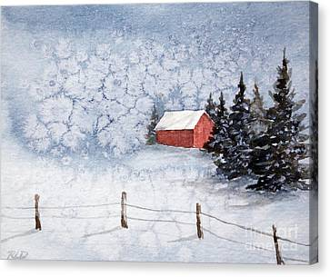 A Country Winter Canvas Print by Rebecca Davis