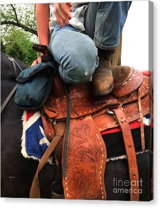 A Cowboy's Saddle  Canvas Print by Steven Digman