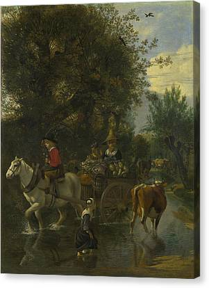 A Cowherd Passing A Horse And Cart In A Stream Canvas Print by Jan Siberechts