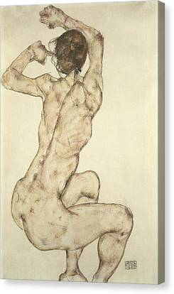 A Crouching Nude Canvas Print by Egon Schiele