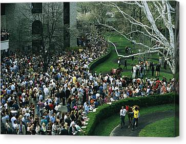 A Crowd Gathers Around Keenelands Canvas Print by Melissa Farlow