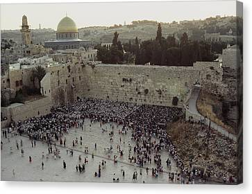 Judaic Canvas Print - A Crowd Gathers Before The Wailing Wall by James L. Stanfield