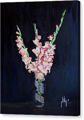 Canvas Print featuring the painting A Cutting Of Gladiolas by Jim Phillips