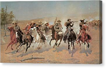 A Dash For The Timber Canvas Print by Frederic Remington